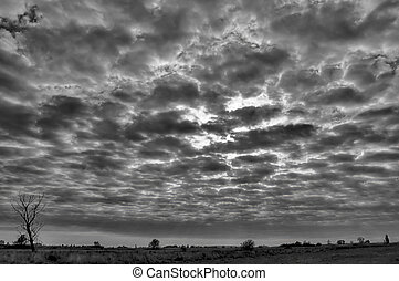 Cloud scape - Black and white image of dramatic cloudscape...