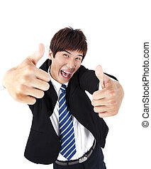 Successful asian young businessman with thumb up