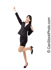 Happy Asian young business woman