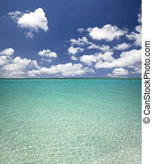 Clean blue water beach and cloud