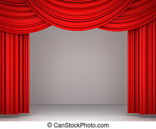red theater curtain - 3d red theater curtain on white...