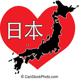 Heart Japan - A red heart with a map of Japan across it and...
