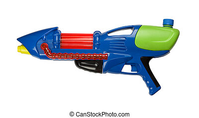 Water gun - Blue plastic water squirt gun isolated on white