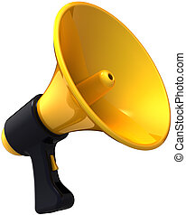 Megaphone alarm attention - Megaphone news blog message...