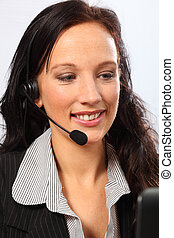 Business telesales by smiling young woman - Beautiful young...