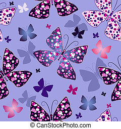 Seamless blue pattern with butterflies