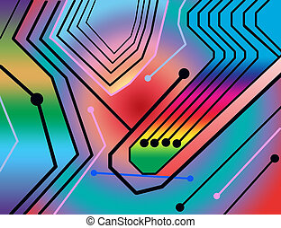 Connectivity - Color and graphic illustration of circuit...