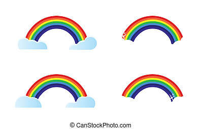 four different rainbow options to choose from. Illustration...