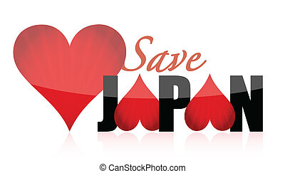 Help save japan hearts illustration design isolated over a...