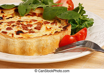Quiche with Lettuce and tomatoe salad