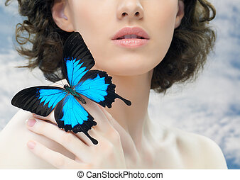 butterfly woman - girl and a beautiful butterfly