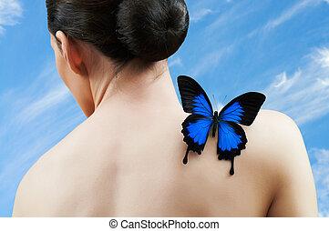 mariposa, mujer