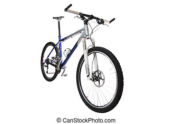 Blue Mountain bike. Isolated on a white background.