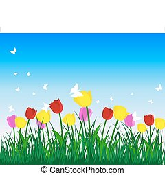 tulips - Meadow background with tulips. All objects are...