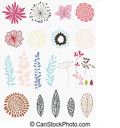 flower set - Set of different flower and leaves for...