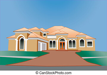 multi roof line upscale home - illustration of a multiple...