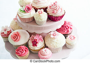 Cupcake selection - Array of cupcakes on a dessert stand