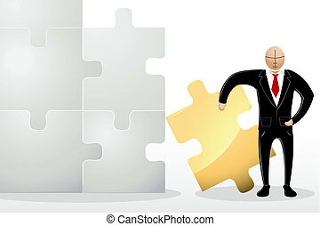 Business Man with Jigsaw Puzzle