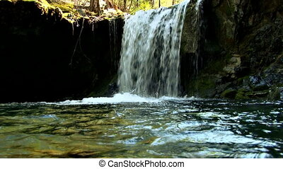 Pretty Little Waterfall slow motion - Small waterfall in...