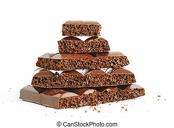 Stack of porous chocolate - Heap of delicious porous...