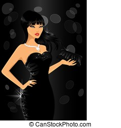 Elegant woman at party - Elegant woman in black at party