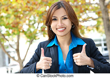 Pretty Asian Business Woman - A young, pretty asian business...