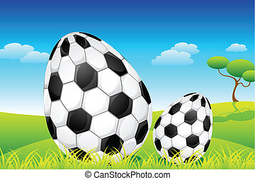 Soccer Easter Eggs - illustration of soccer ball decorated...