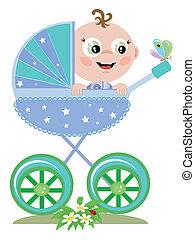 bebé, niño, carruaje