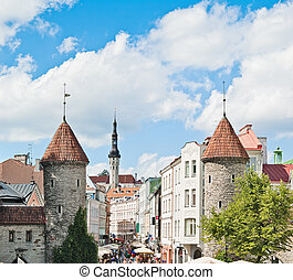 Tallinn Towers in a fortification Street Viru