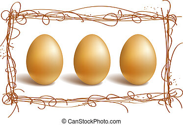 Gold eggs in the nest frame - Three gold eggs in the nest...