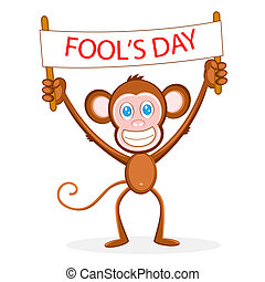 Monkey wishing Fool\'s Day - illustration of monkey holding...