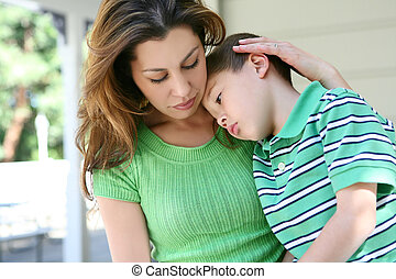 Tired boy at Home with Mother - A cute tired boy and his...