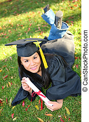 Pretty Asian Graduation Woman