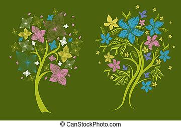 Vector set of spring tree design el