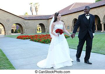 interracial, pareja, atractivo, boda