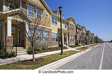 Residential street - Beautiful new houses on residential...