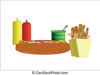 hotdog and fries - hot dog and fries with condiments on...