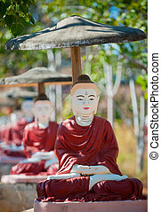Buddha statues, Monywa, Myanmar