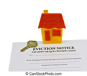 Eviction Notice - Eviction notice paper, house key, and...