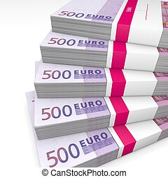 Pile of 500 Euro Cash Packets - 500 Euro cash packets with...