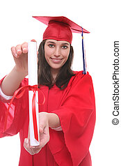 Teen Woman at Graduation - A young teenage woman at...