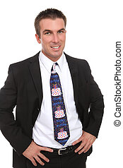 Business Man with Happy Birthday Tie