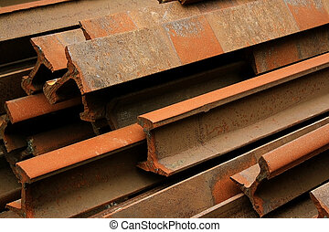 Old Rails - Rusty iron railroad rails that were torn up from...