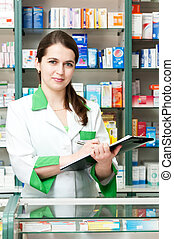Pharmacy chemist woman in drugstore - Happy cheerful...