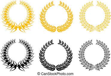 Set of laurel wreaths - Set of gold and black laurel wreaths