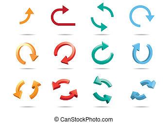 3D, ciclo, setas