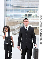 Business Man With Woman Co-worker