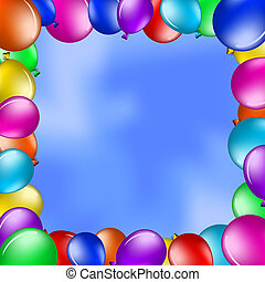 Balloons in the blue sky - Vector background, framework from...