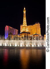 Eiffel tower in Las Vegas, night veiw