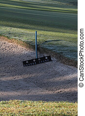 Sand Trap Rake - Rake for the sand trap awaits potential...